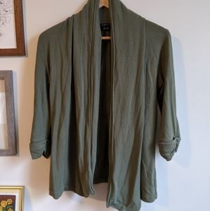Theory Olive Green Open Front 3/4 Sleeve Cardigan